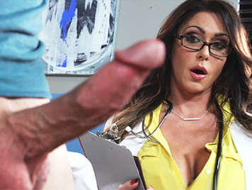 Sexy doctor with glasses serving patients with priapism and treats them with a blowjob