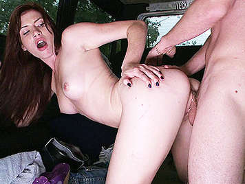 Skinny and sexy redhead girl fucking in a van to the ass shaking doggy style with a cock in her shaved pussy is cum over her naked body