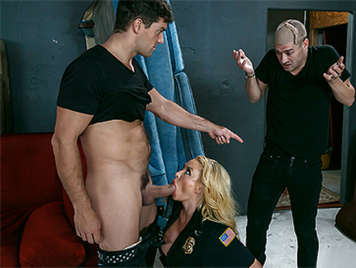 The fantasy of this superslut police is that two thieves fuck her in a threesome