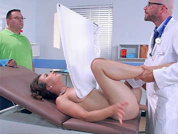 Doctor fucking a mature, luxuriant insemination with his cock, while her husband, waiting for the results, she squirts with cock in her pussy and the doctor cums inside her sex drenched