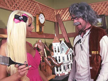 Horny carpenter Geppetto creates a doll for Pinocchio, who fucks with his long dick to cum on her face of dummy