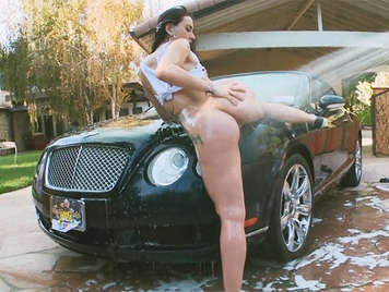Busty babe clean my luxury Bentley car and wants a big cock fucking her juicy ass