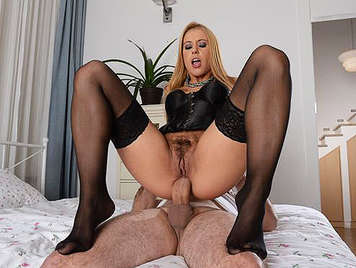 Hard and brutal anal creampie with a blonde in sexy lingerie and hairy pussy