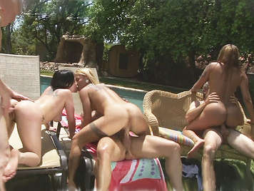 A small group of single friends end up doing  an anal orgy poolside
