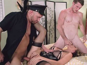 Hot busty mom fucked by the cop and the tief