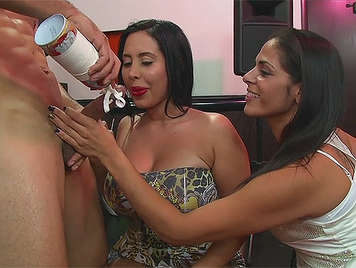 Chaos in a bachelorette party sucking cock covered with cream in spray that shoot jets of cum
