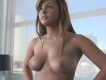 Porn casting to a beauty babe with perfect natural tits