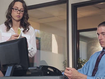 Sensual and young secretary with glasses fucking with her boss in the office