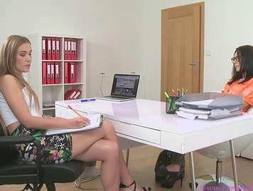 Cute female agent fucking with an aspiring secretary girl
