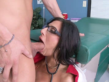 Female Doctor milf with big tits and beautiful, fucked brutally in the consulting room