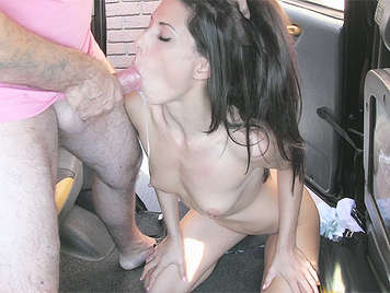 Teen shameless gets big facial cumshot in back of a taxi cab