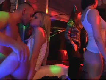 Horny sex at the club with lot of hot babes