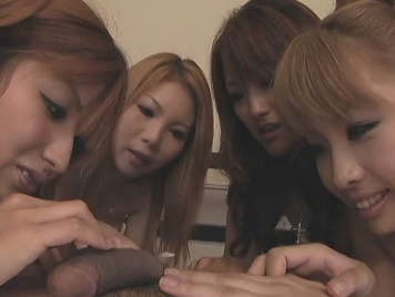 four Japanese girls sucking cock