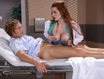 Busty and horny doctor squirts like a bitch while fucked hard, they shoot a jet of hot cum on her face and tits