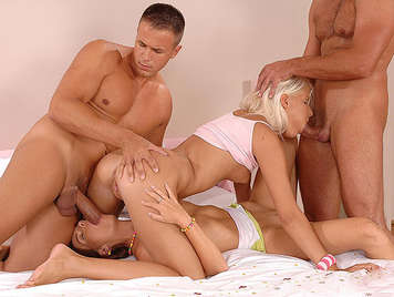 Wild sex foursome with two couples who fucking hard and practice deep anal sex with double penetration with their asses filled with hot cum