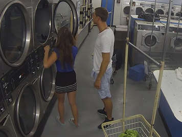Couple recorded on hidden camera while they are having sex in the laundry