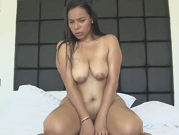 buxom colombian girl in her first porn casting