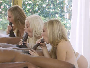 Three black cocks for three horny blondes