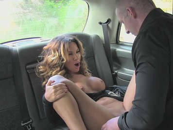 Fake female taxi driver fucking with her customer