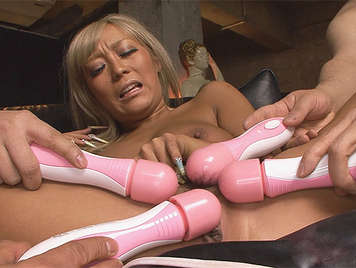Japanese slut with shaved pussy enjoying than four dildos rubbing her pussy with dense and warm cum of semen in her face