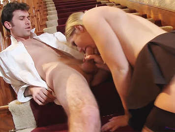 Professor lucky bastard fucking a schoolgirl on the stairs of his house, until he unloads in her mouth