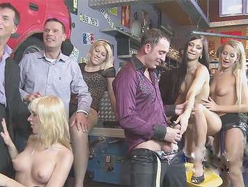 An orgy with five European girls hungry for cock