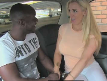 Woman taxi driver, fucking in the car with his black client