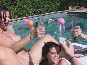 A lesbian party in the pool, beer and wet rabbits