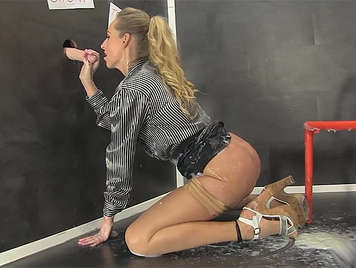 Glory hole with A sexy, young blonde gets covered in cream as she pleasures her gorgeous body