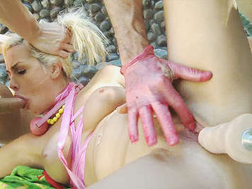 extreme sex, abusing of a busty dirty blonde who she squirt like a bitch