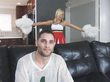 Busty blonde Cheerleader Tasha Reign tries to Cheer him Up