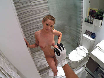 For money blonde Teen gets screwed in her bathroom