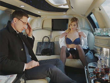Girl Posh, fucks her guardian in the limo Dad
